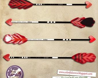 Love Arrows,  Handdrawn Arrow Clip Art, Love tribal Digital Arrows, Love Hand Drawn Arrows, Cupid Arrow Clipart, Valentine's Day Heart Arrow