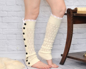 Women's White Off lace boot socks, boot cuffs, leg warmers, lace boot cuffs, boot toppers, grace and lace, birthday day gifts  by TTAcc