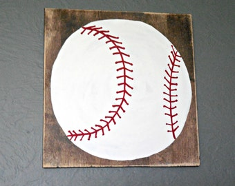 Baseball wood sign