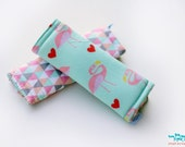 Stroller Strap Covers, Car Seat Strap Covers, triangles and flamingoes print