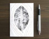 Hand Printed Card, Framable Art Gift, Dot Painting Note Card, Leaf Art Greeting Card, Nature Artwork on Paper