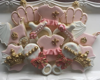 Princess Sugar Cookies, royal princess cookies, pink baby shower cookies, baby shower, first birthday