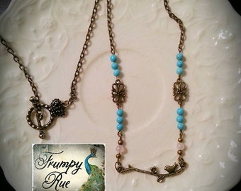 Songbird, Vintage Style Bird on a Branch Necklace