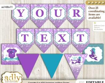 Sea Mermaid DIY Personalizable Banner Printable for Baby Mermaid Shower, birthday– Glitter -ao140bs11