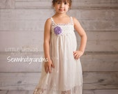 2T-5T, Light Ivory Flower Girl Lace Dress, Bohemian Vintage Styled Lace Dress, Country Girl Wedding, Cow Girl Wedding