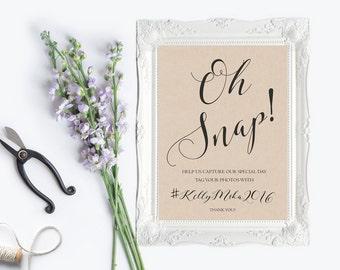 Oh Snap Instagram Wedding Sign Printable, Rustic Social Media Sign, Kraft, hashtag wedding sign, help us capture the love, digital, diy