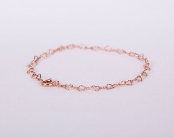 Bracelet Rose Gold Plated Silver Heart Links Love Chain Plated Hearts Rosegold
