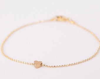 Bracelet Gold Heart Love Chain Plated Hearts Gold Plated Ballchain Chain Gold Plated