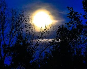 Blue Moon Photo, Moon Wall Art, Night Photography, Fine Art Photography, Home Decor, Blue Black Decor Print