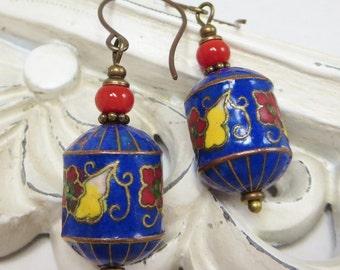 Vintage Cloisonne Earrings Vintage Enamel Flower Earrings RARE 1930s