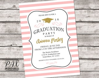 Gold Glitter Graduation Party Invitation - Printable Graduation Invitation - ANY EVENT