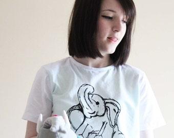 Elephant Tshirt // Blue Elephant Tee // Animal Shirt // Vegan Tshirt // Eco Friendly tshirt  // Watercolour Animal  // Elephant Gift