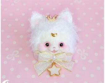 Moon Cat Brooch and Hairclip