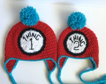 Crochet Handmade Sibling Hat  With Ear Flaps and Tie Toque Beanie Baby Child Kids Teen Adult