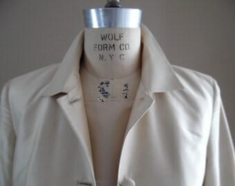 Vintage 1990s Pale Gold Silk Jacket and Dress Ensemble by Valerie Stevens
