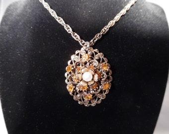 Vintage Goldtone Filigree Pendant Necklace with Faux Gemstones