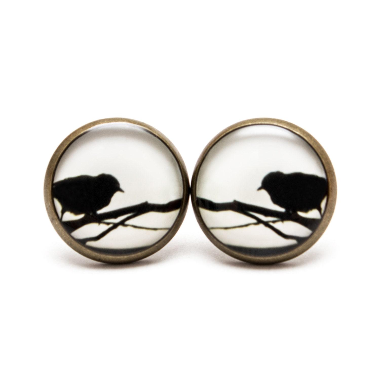 Silhouette Earrings: Bird Silhouette Earring Studs Bird Jewelry Animal Earrings