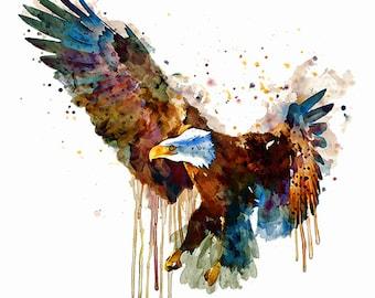Eagle Watercolor painting Birds of prey Wall art Eagle decor Wildlife American eagle Bird decor Bird Watercolor eagle Eagle art Eagle poster