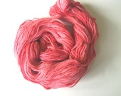 8 skeins of hand dyed wool worsted yarn, variegated pink/salmon
