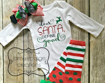 Dear SANTA, Define Good Baby's 1st Christmas Bodysuit - Sparkle Holiday Outfit Christmas Outfit for Girl Santa Outfit