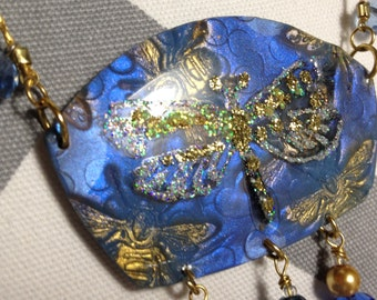 Dragonfly and Blue Crystals Christmas in July SALE~ FREE Shipping now Through July 31st