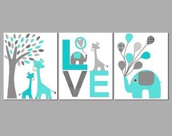 Safari animals Nursery Art Print Set, Kids Room Decor, Giraffe, elephant, tree, balloons, love, turquoise, turquoise blue, grey -UNFRAMED