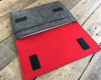 iPad Air Case / iPad Air Sleeve / iPad Air Cover - Mottled Dark Grey and Red - 100% Wool Felt