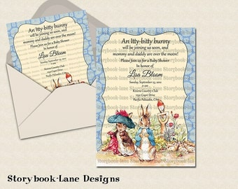 Peter rabbit and benjamin bunny Blue Invitation for All Occasions