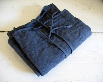 Antique French apron, hemp or chanvre dyed charcoal grey