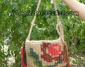 Fringe Bag , Messenger Jute Bag, Gypsy Bag, Crochet Purse Hippie, Cross Body Bag, OOAK bag