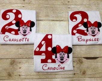 Minnie Mouse Birthday Shirt/ Minnie Birthday Shirt/ Girls Minnie Mouse Shirt/ Minnie Bowtique/ Minnie Mouse 1st Birthday Outfit/ Pink or Red