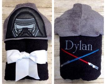 dark warrior hooded towel dark side star wars costume hooded bath towel