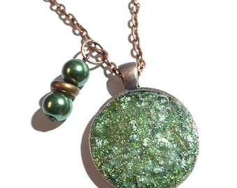 Green pendant, fall colors jewelry, fall jewelry, druzy, green necklace