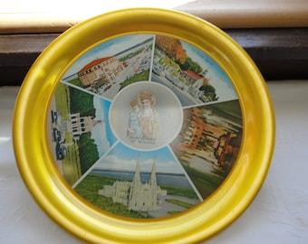 Sainte Anne De Beaupre Serving Tray Metal Gold Trim Quebec Souvenir