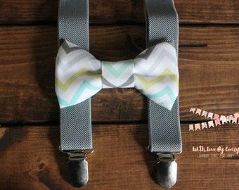 Bowtie & Suspenders- Easter Chevron