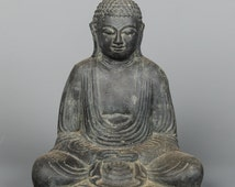"Antique Style Stone Seated Japanese Buddha Statue in Meditation Mudra -21cm/8.5"""