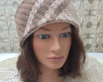 Beautiful upcycled-recycled brown felted wool headband-ear warmer lined in cashmere-made from sweaters