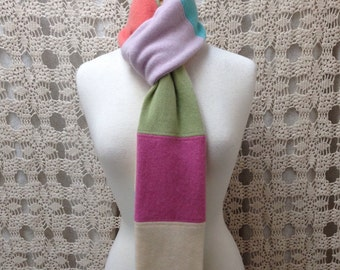Cashmere scarf-Beautiful upcycled-recycled colorful pastel felted cashmere infinity scarf- made from sweaters
