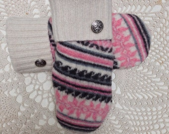 Wool mittens-Upcycled recycled pink and black patterned felted wool mittens