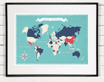 carte du monde affiche r tro art minimaliste carte voyage. Black Bedroom Furniture Sets. Home Design Ideas