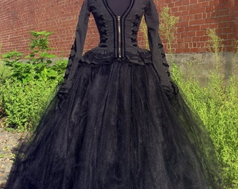 Bellatrix Lestrange Costume Skirt  Full length black tulle skirt for Harry Potter Witch Halloween Costume, Cosplay.  Wicked witch, Hogwarts.