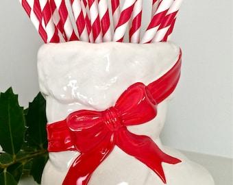 "Vintage Christmas Decor Ceramic Santa's Boot with Original Plastic ""Greenery"""