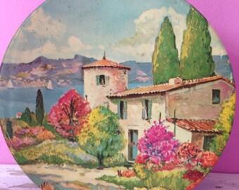 Vintage cookie tin, vibrant seaside scene, coast of France, Italy, beautiful colors!