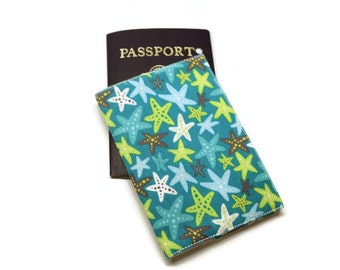 Teal starfish fabric passport case holder cover. Travel gift idea. Monogramming available.