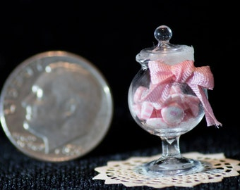 Pink Candy in Glass Candy Jar; Dollhouse Candy; Miniature Jar; Glass Candy Jar; 1:12 Scale