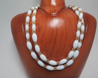 Hattie Carnegie Milk Glass and Gold Tone Necklace and Earrings