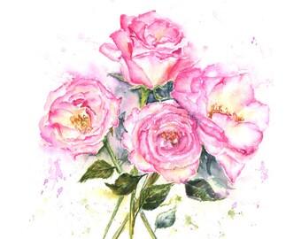 Rose Bouquet -  Watercolor flower Art- Original - floral watercolor art