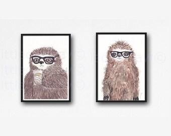 Sloth Print Geek Sloth Set of 2 Art Prints Watercolor Painting Art Illustration Nerd Animal Prints Sloth Wall Art Sloth Prints