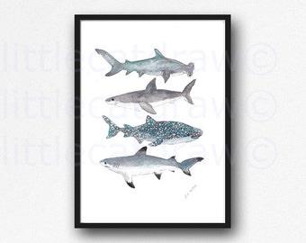 Shark Print Shark Stack Watercolor Nautical Print Shark Family Watercolor Painting Wall Art Illustration Art Print of Sharks