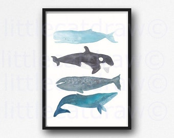 Whales Watercolor Print Painting Whale Bathroom Wall Art Nautical Print Whale Stack Watercolor Art Print of Whales Wall Art